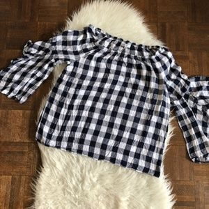 Fever Large Off Shoulder Top Blouse Blue Plaid